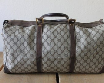 Vintage 1970s Stylish Gucci Travel Luggage Overnight Bag In Classic Browns