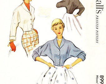 McCall's 8992 Misses' Vintage 1950s Jacket with Shawl Collar Sewing Pattern