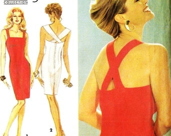 Simplicity 8341 Christie Brinkley Collection Cross Back Strap Dress Perfect for That Little Black Dress Sewing Pattern
