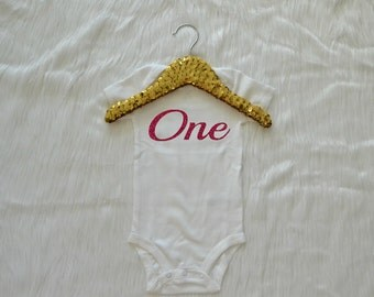 Baby Girl First Birthday Bodysuit, One Hot Pink Glitter, Available in Short and Long Sleeve Sizes 9 12 18 24 Month