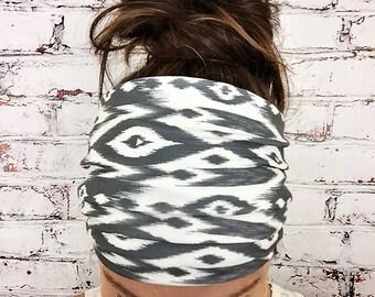 Yoga Headband - Extra Wide - Tribal Ikat - Black & White - Eco Friendly