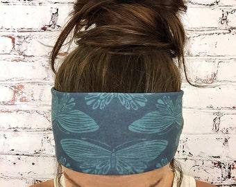 Yoga Headband - Boho Butterfly - Blue - Eco Friendly - Boho Chic