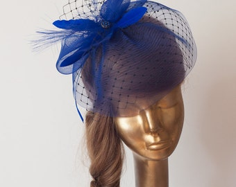 Royal Blue BIRDCAGE VEIL . Bridal FASCINATOR from Crinoline
