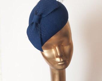 Unique Modern Navy Blue Felt FASCINATOR with Veil.Pillbox Hat  for Women