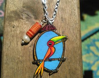 Tiki Bird Necklace - Tropical Bird - Orange and Red - Pearl