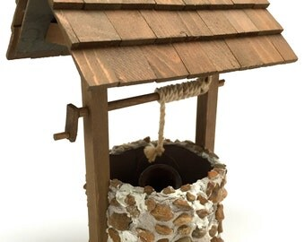 Dollhouse, Wishing Well, Well, Jack and Jill, Pail, Water, Pump, Handmade, Rock, Wood, Miniature, 1:12 Scale, Vintage