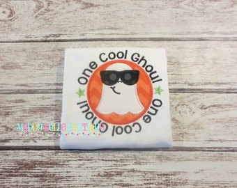 One Cool Ghoul Halloween Appliqued Shirt - Embroidered, Personalized, Monogram, Ghost, Boys Ghost Shirt, Halloween Shirt, Ghost, Cool Ghoul