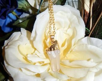 PAGAN WICCAN Quartz Point Necklace - Terminated Quartz Talisman - Charm necklace includes silver link chain