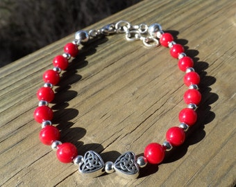 Red Bamboo Coral and Silver Bracelet with Heart Celtic Knot Beads and Lobster clasp