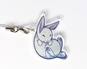 Chibi White Rabbit Clear Acrylic Charms with Phone Strap