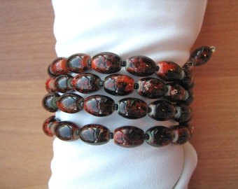 Brown Glass Beaded Coil Bracelet one size fits all