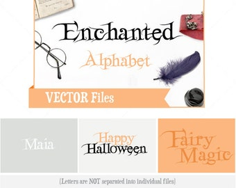 Enchanted Alphabet VECTOR Alphabet/Font: Design/ Instant Download;  .ai .eps .psd .pdf .svg .dxf .emf
