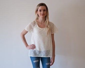 Ivory Lace Blouse / Summer Top