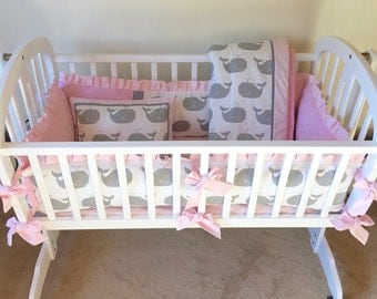 Gray and Pink WHALE TALES Baby Cradle Bedding Set -- Includes Cradle Bumper, Baby Blanket, Fitted Sheet, & Accent Pillow -- Made-To-Order