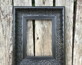 Black Ornate 8x10, 11x14 Picture Frame,Chunky,Wedding Frame,Wide Chunky Frame,Glass and Backings,,Not distressed #1556(Los Angeles)