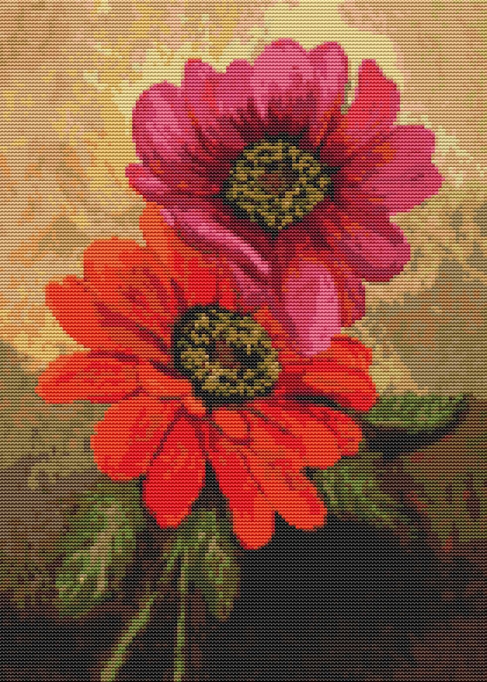 Flowers cross stitch kit affection