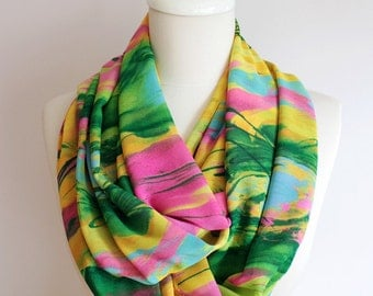 Colorful Infinity Scarf Loop Print Scarf Circle Scarf Spring Summer Fall Winter Session gift for her girlfriend wife mothers day