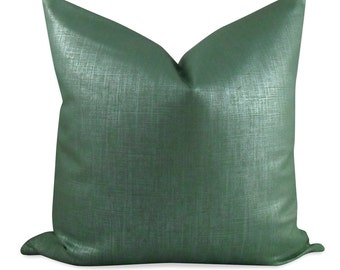 Metalic Robert Allen Alchemy Pillow Cover in Patina - SAME Fabric BOTH Sides - Invisible Zipper
