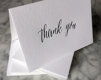 Calligraphy Letterpress 'Hers' Thank You Cards