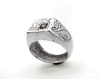 Signet Ring with Smoky Quartz - OOAK Sterling Silver Signet Ring - Spiral Design