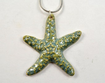 """SALE! Starfish Ceramic Pendant Necklace with Silver Plated 18"""" Chain Pottery Jewelry"""