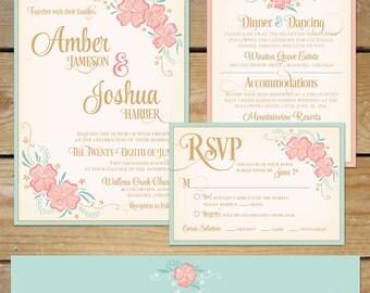 Printable Floral Wedding Invitation Suite // DIY Wedding Invite // Mint and Peach // Floral Wedding Invite, Mint and Pink Wedding