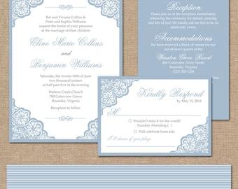 Elegant Lace Wedding Invitation Suite, Square Invitation // Light Blue Wedding Invitation // DIY Printable Wedding Invite