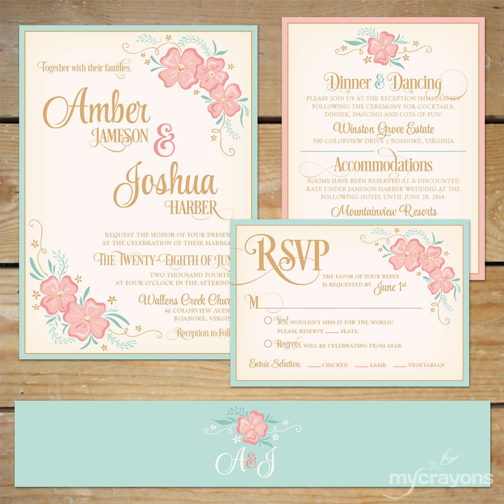 Printable floral wedding invitation suite diy wedding for Wedding invitation suite what to include