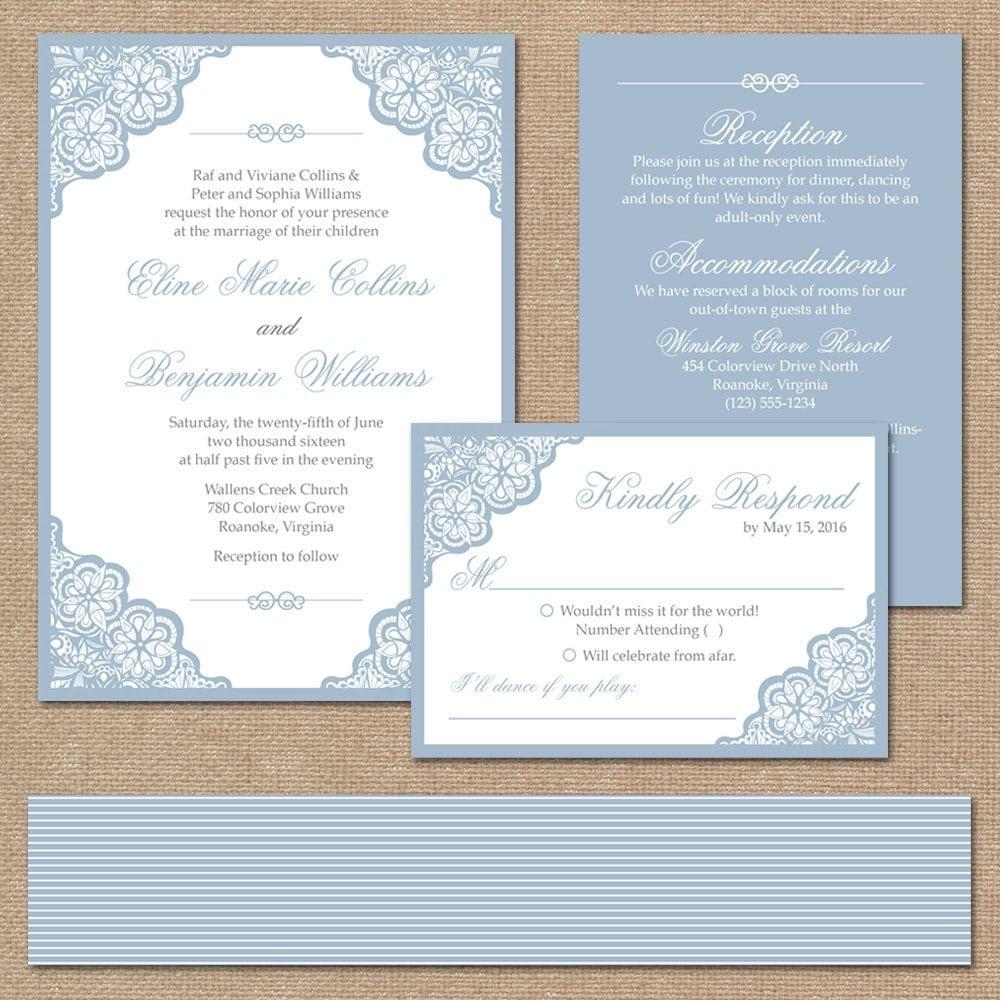 Elegant Wedding Invitation Templates: Elegant Lace Wedding Invitation Suite Square Invitation