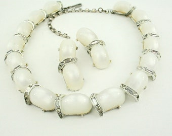 1960s KramerThermoset Moonglow Lucite Rhinestones Necklace and Earring Set Parure