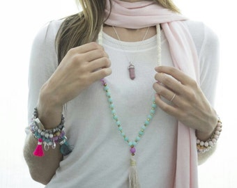 N6111 - Long Tassel Necklace - Ivory, blue, pink beads and Gold Tassel - Long Necklace - Boho Jewelry - Claribella