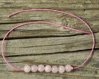Rose Quartz Bracelet, Wish Bracelet, Chakra Bracelet, Heart Chakra, Hemp Bracelet, Crystal Healing, Meditation Bracelet, Yoga Bracelet