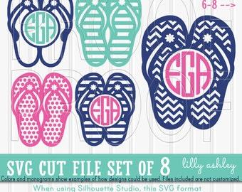 monogram svg files flip flop set includes 8 cutting files svgpngjpg beach svg monogram flip flop svg summer svg letters not included