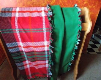 Double Layer Christmas Plaid Fleece Blanket with Braided Edges