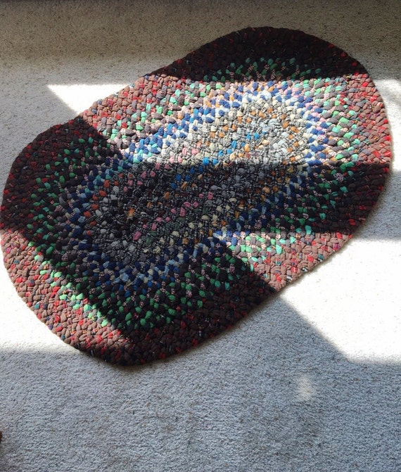 Vintage Braided Rag Rug Braided Wool Rug Farmhouse Decor