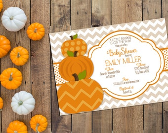 Little Pumpkin Baby Shower Invitation - Fall Baby Shower - Tan Brown and Orange - Chevron Stripes - Printable