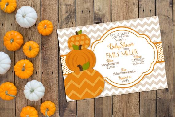 Little Pumpkin Baby Shower Invitation - Fall Baby Shower - Tan Brown and Orange - Chevron Stripes - Printable