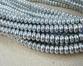 Czech Beads, 4x2mm Rondelle, Czech Glass Beads - Silver Metallic (RD4/SM-27000) - Heishi Rondelle - Qty. 100