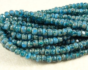 Czech Beads, Trica Beads, Czech Glass Seed Beads - Sky Blue and Capri Blue (TRICA/N-1176) - 3x4mm - Qty. 50