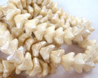 Czech Beads, Czech Glass Flower Beads, Czech Glass Beads - Champagne (FL/N-1077) - 5 Petal Flower Bead - 6x9mm - Qty 12