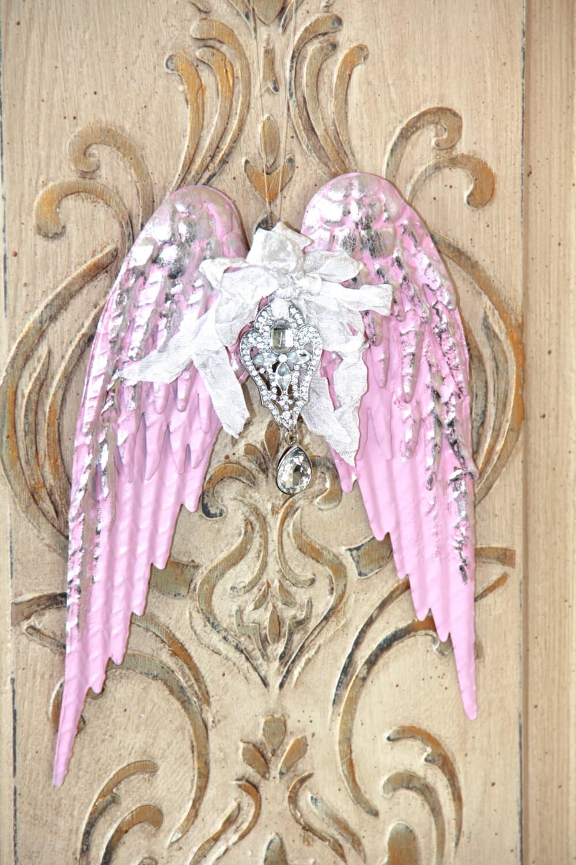 Angel wings wall decor metal angel wingspainted angel wings for Angel wall decoration