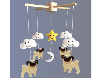 Pug Dog Baby Mobile (Customisable and Made to Order)