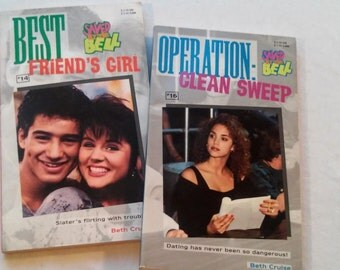 """Pair of 90's Saved By the Bell Paperbacks: """"Best Friend's Girl"""" and """"Operation Clean Sweep"""" both written by Beth Cruise, 1994."""