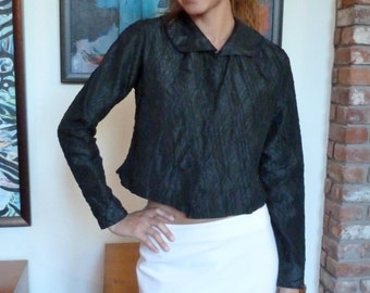 Black Edwardian Blouse AS IS Costume or Wearable Witchy Mourning Jacket Long Sleeve