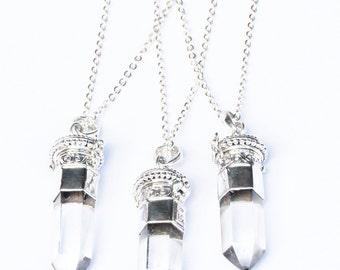 Crystal Locket Necklace, Quarts Necklace, Gemstone Pendant, Sterling Silver Necklace, Boho Jewelry, Silver Locket, Antique Style Locket