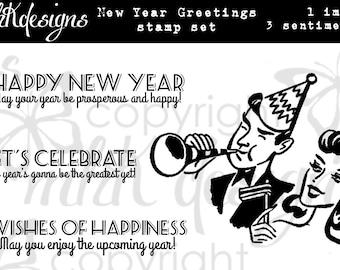 New Year Greetings Digital Stamp Set