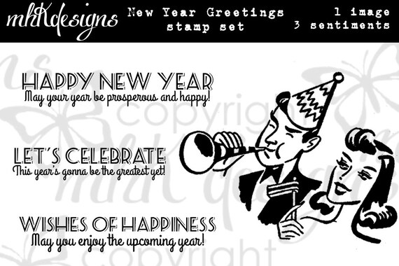 New Year Greetings Digital Stamp Set