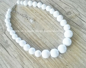 Simple beaded white necklace,White beaded necklace,Graduated White necklace,White jewelry,White Bridesmaid gift,Beach wedding,Summer wedding