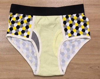 HOT ITEM - 100% Recycled T-Shirt Handmade Men's Brief Underwear PanTees: Multi-Color Yellow/Grey/Black & Light Yellow (Sz S)