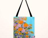 Original painted printed hand sewn handmade Flower Tote Bag Shopper tote bag canvas art  Romantic Botanical Print Shabby Chic Bag Colorful
